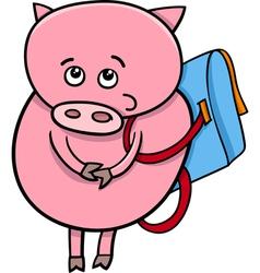 Piglet with satchel cartoon vector
