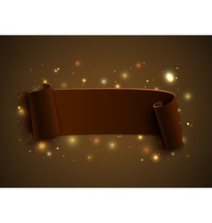 Realistic curved ribbon on brown background with vector
