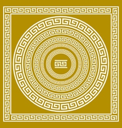 Set frieze with vintage golden greek ornament vector