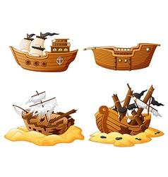 set of broken pirate ship vector image