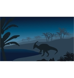 Silhouette of single parasaurolophus vector image vector image