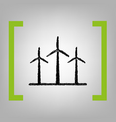 Wind turbines sign black scribble icon in vector
