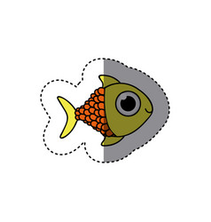 yellow happy fish scalescartoon icon vector image