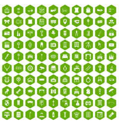 100 mirror icons hexagon green vector