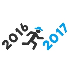 Run to 2017 year flat icon vector
