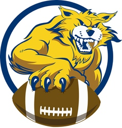 Bobcat with football vector