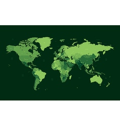 Dark green detailed world map vector