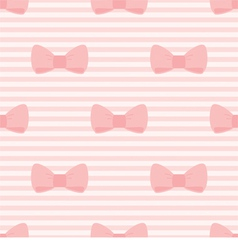 Seamless pattern with bows pink strips background vector image