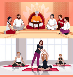 Yoga and spiritual lesson flat compositions vector