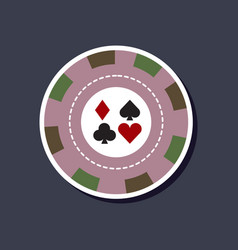 Paper sticker on stylish background poker chips vector