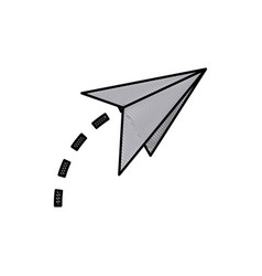 drawing paper airplane origami creativity symbolic vector image