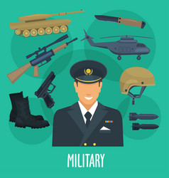 Military man occupation machines and weapon vector