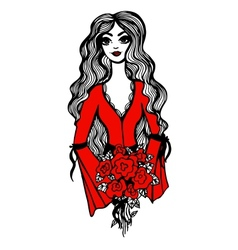 Beautiful girl with red roses in hands vector image