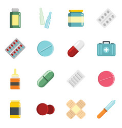 Medicine cartoon pill drugs and antibiotics icons vector