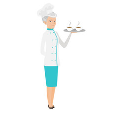 Senior caucasian chef holding tray with cups vector