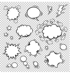 Comic speech bubbles set with different shapes vector