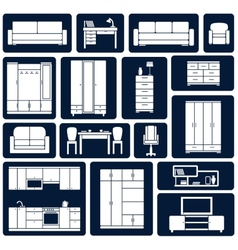 Flat office and home furniture silhouette icons vector
