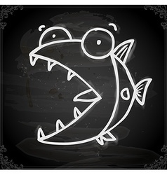 Fish drawing on chalk board vector