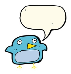 Cartoon bluebird with speech bubble vector