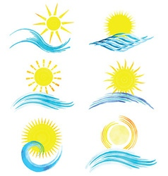 Watercolor summer icons 1101 vector