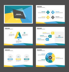 Yellow green blue presentation templates layout vector