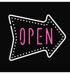 Classic open neon sign dark background business vector