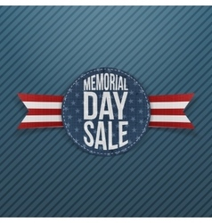 Memorial day sale textile sign and ribbon vector