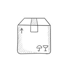 Carton package box sketch icon vector