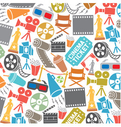 background pattern with cinema icons vector image