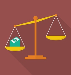 Balance scale with cash money vector image