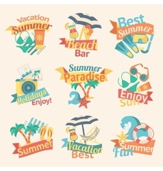 Beach Labels Flat Set vector image vector image