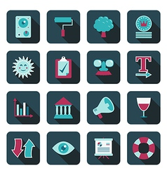 blue media icons vector image vector image