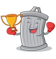 boxing trash character cartoon style vector image