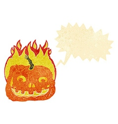 Cartoon burning pumpkin with speech bubble vector