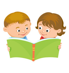 Cartoon kids reading book vector