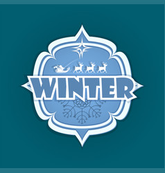 christmas emblem with winter text and deer vector image vector image
