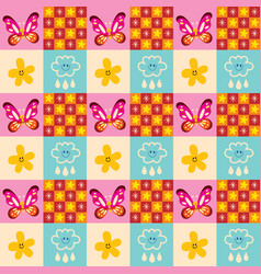 cute butterflies flowers clouds rain drops pattern vector image vector image
