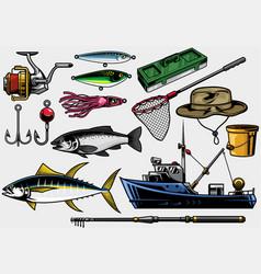 Fishing equipment in set vector