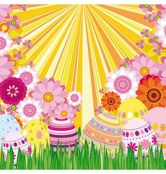 Floral background with Easter eggs vector image vector image