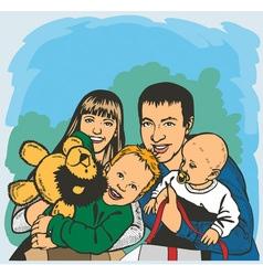 Happy big family vector image vector image