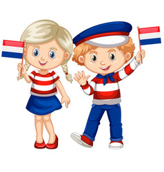 Happy boy and girl holding flag of netherland vector