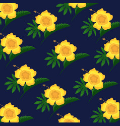 Hibiscus flower tropical leaves decoration vector