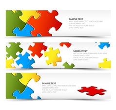horizontal banners puzzle vector image vector image