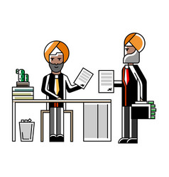 Indian businessmen contract conclusion in office vector