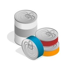 Isometric closed food tin cans with blank label vector