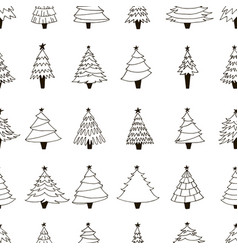 pattern with hand drawn christmas trees vector image