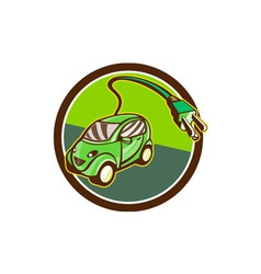 Plug-in hybrid electric vehicle circle retro vector