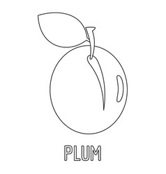 plum icon outline style vector image