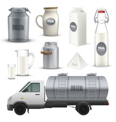 product milk realistic set vector image vector image