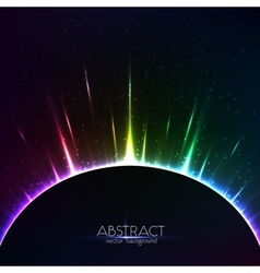 Rainbow shining light colorful cosmic sphere vector image vector image